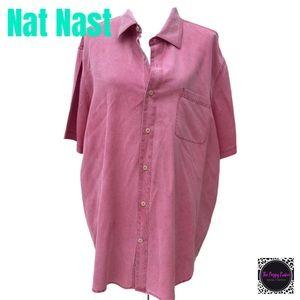 Nat Nast Silk Blend Textured Collared Shirt EUC